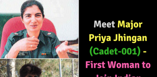 Major Priya Jhingan (Cadet-001) - First Woman to Join Indian Army