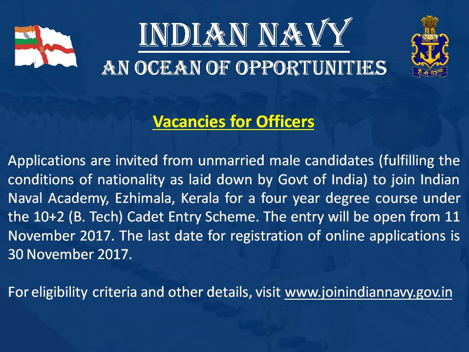 Indian Navy Cadet Entry Scheme Notification