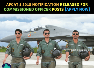 AFCAT 1 2018 Notification Released for Commissioned Officer Posts