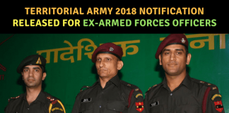 Territorial Army 2018 Notification released for Ex-Armed Forces Officers