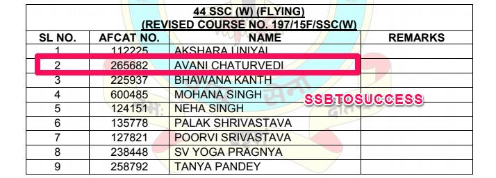 Flying Officer Avani Chaturvedi