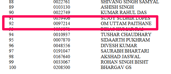 Cadet Om Paithane Merit List