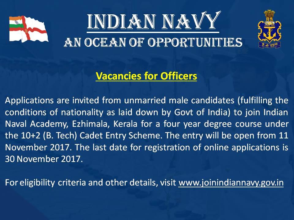 Indian Navy Cadet Entry Scheme Notification