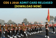 CDS 1 2018 Admit Card Download