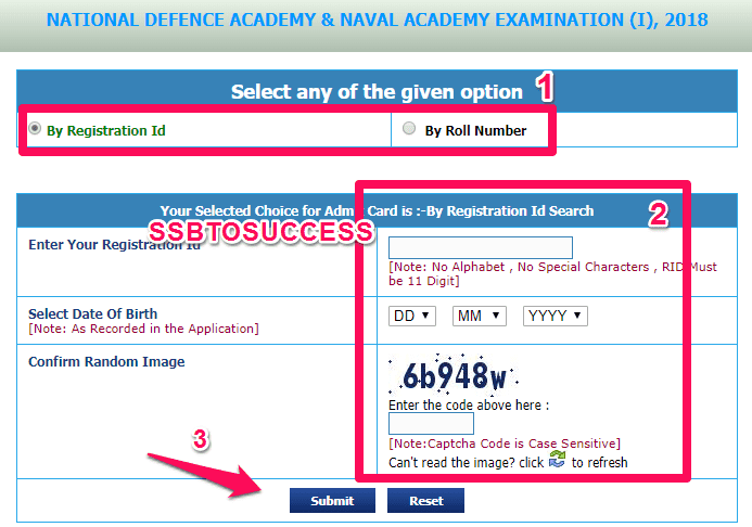NDA 1 2018 Admit Card Download