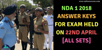 NDA 1 2018 Answer Key for Exam held on 22nd April [All SETs]