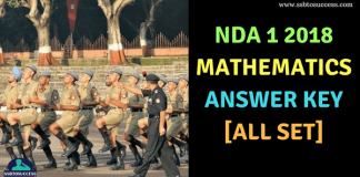 NDA 1 2018 Answer Key for Mathematics