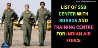 List of SSB Center with Boards and Training Centre for Indian Air Force