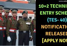 10+2 Technical Entry Scheme (TES 40)