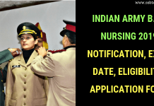 Indian Army B.Sc Nursing 2019