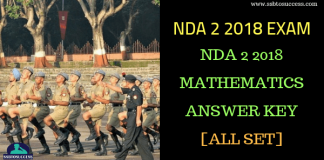 NDA 2 2018 mathematics Answer Key
