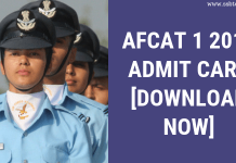AFCAT 1 2019 Admit Card