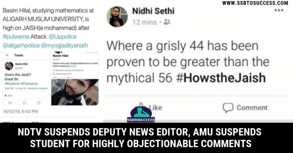 NDTV Suspends Deputy News Editor, AMU Suspends Student for Highly Objectionable Comments