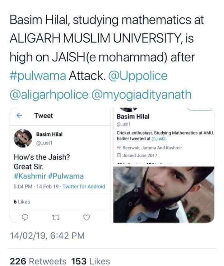 AMU Student Tweet on Pulwama Terror Attack