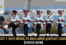 AFCAT 1 2019 Result