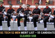 SSC Tech 52 Merit List Men