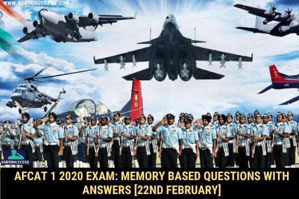 AFCAT 1 2020 Memory Based Question Answer