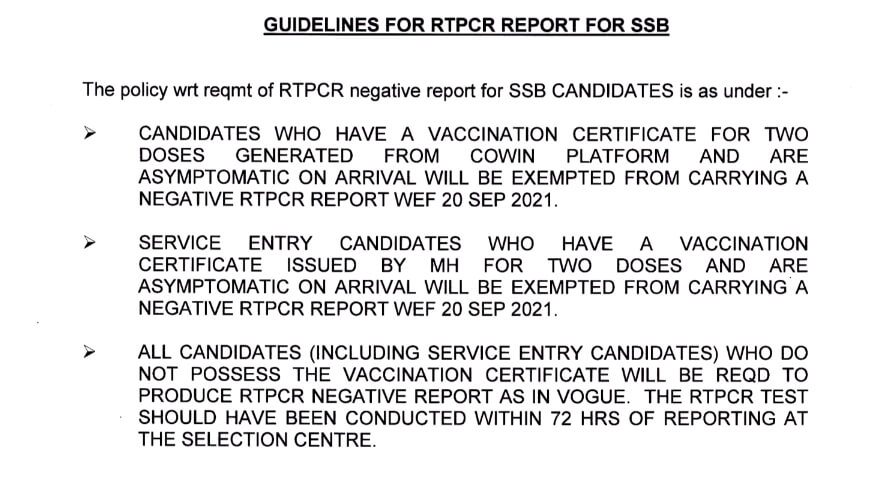 COVID 19 Guidelines for RTPCR Report for SSB