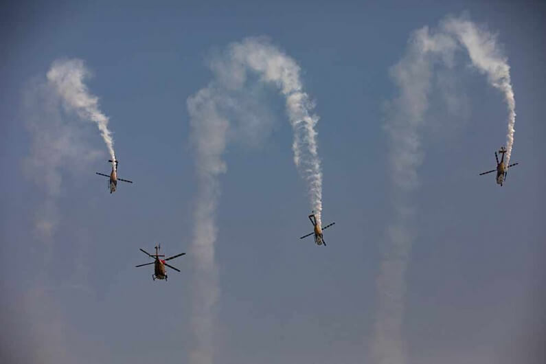 Indian Air Force fighter Tejas Aircraft Perform Aerobatic Maneuvers