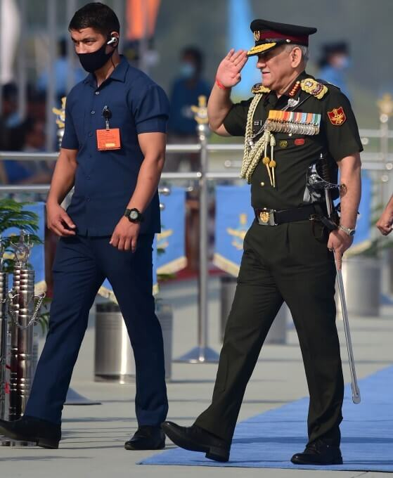 Chief of Defence Staff of India General Bipin Rawat arrives to attend Indian Air Force (IAF)'s 89th Foundation Day
