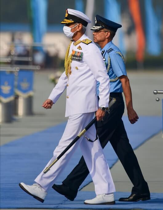 Chief of the Naval Staff Admiral Karambir Singh arrives to Attend Indian Air Force (IAF)'s 89th Foundation Day