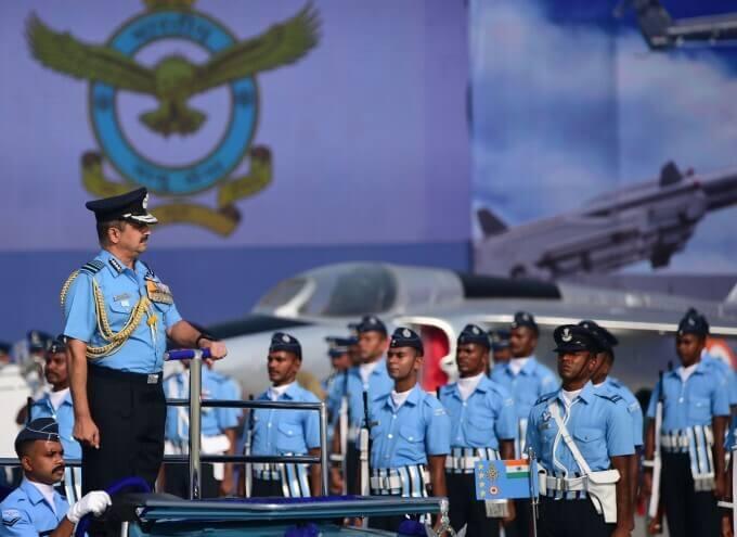 Indian Air Force (IAF) Air Chief Marshal Vivek Ram Chaudhary Reviews Guard of Honour