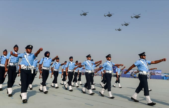Indian Air Force (IAF) Personnel March Past as IAF Helicopters
