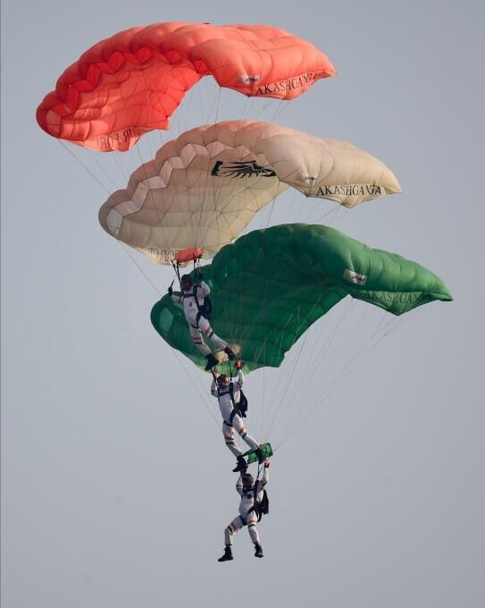 Indian Air Force (IAF)'s Flag Bearing Skydivers of the Akash Ganga Team